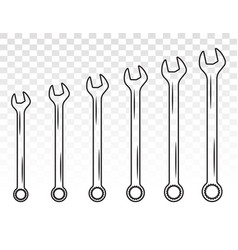 Set wrench combination spanner line art icon vector