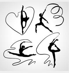 silhouettes gymnastic girls art gymnastics vector image