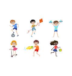 summer kids outdoor activities set boys and girls vector image