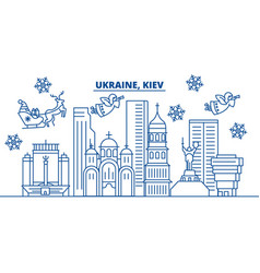 ukraine kiev winter city skyline merry christmas vector image