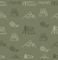 vintage hand drawn camping seamless pattern vector image