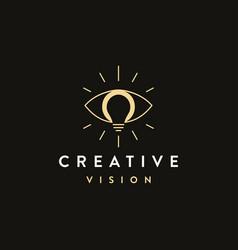 Vision logo icon eye and light bulb logo vector