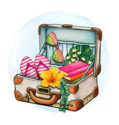 watercolor open suitcase full travel objects vector image
