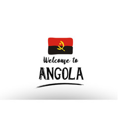 Welcome to angola country flag logo card banner vector