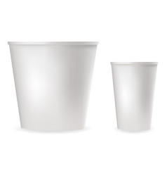 White plastic cups for food cold and hot drinks vector