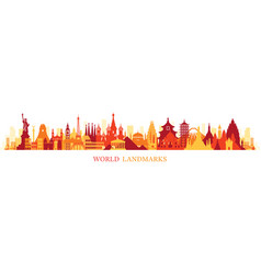 world skyline landmarks silhouette in colorful vector image