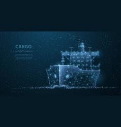 worldwide cargo ship polygonal wireframe mesh art vector image