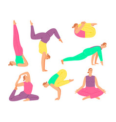 yoga pose collection woman fitness do vector image