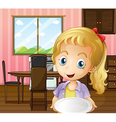 A girl holding an empty plate in the dining area vector image vector image