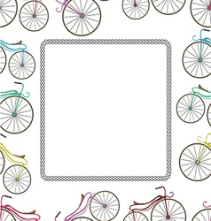 Card with bicycle and trail from wheel vector image