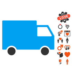 cargo van icon with love bonus vector image