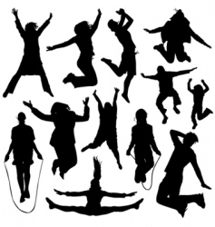 people jumping vector image