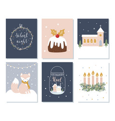 set of christmas and winter holidays cards advent vector image vector image
