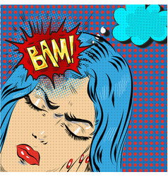 woman in pop art retro comic style woman oh vector image vector image
