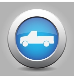 blue metal button with car vector image