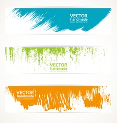Color handmade abstract brush strokes banners vector image vector image