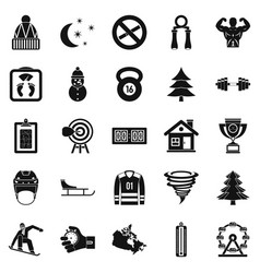 Winter sport icons set simple style vector