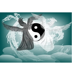 Yin and Yang fantasy with angels vector image