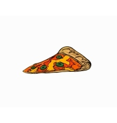 colored drawing piece of a pizza with olive vector image