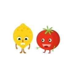 Humanized Lemon And Tomato vector image vector image