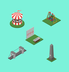 isometric urban set of aiming game seesaw vector image vector image