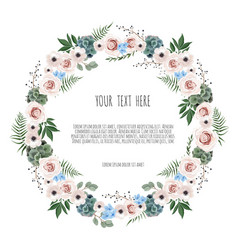 spring wreath floral background with beautiful vector image
