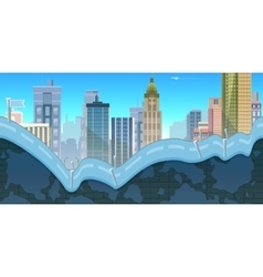 City Game Background with mountains and retro old vector image