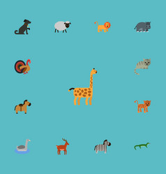 flat icons kitty hound moose and other vector image