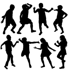 Set of active children silhouettes vector image