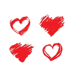 Set of hand drawn grunge red hearts vector image vector image