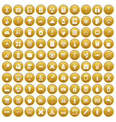 100 chemistry icons set gold vector