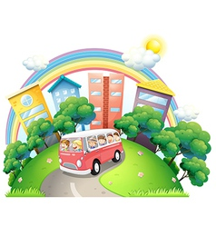 A bus full of kids vector image