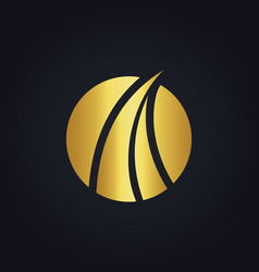 Abstract gold loop round business logo vector