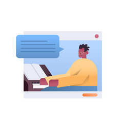 African american man playing piano in web browser vector