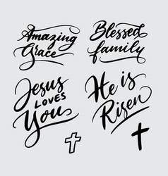 Amazing grace and jesus loves you handwriting call vector