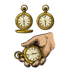 antique pocket watch vintage engraved vector image