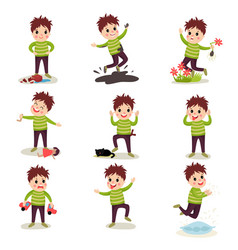 Bad boy with crazy hair having fun playing games vector