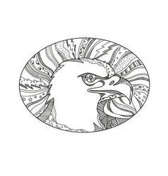 bald eagle head doodle art vector image