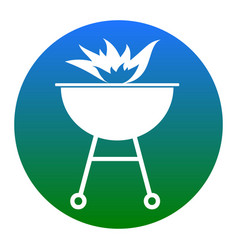 barbecue with fire sign white icon in vector image