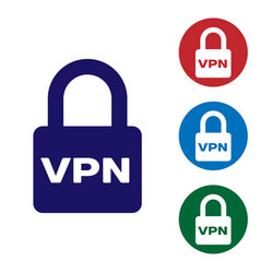 Blue lock vpn icon isolated on white background vector