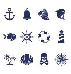 Blue marine symbols on white vector