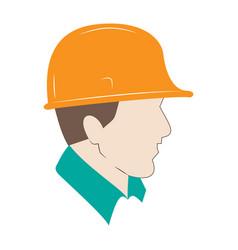 builder in protective helmet male flat vector image