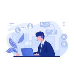 call center operator cartoon character vector image