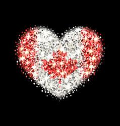 Canada flag sparkling heart badge vector