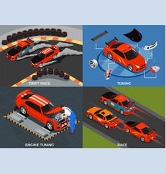 car tuning 2x2 design concept vector image