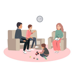 Caring parents and misbehaving boy during therapy vector