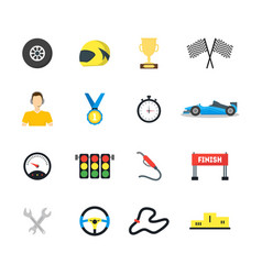 cartoon car racing symbol color icons set vector image
