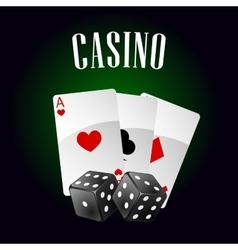 Casino icon with playing cards and dice vector