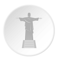 Christ the redeemer statue icon circle vector