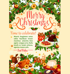 christmas turkey poster new year holiday design vector image